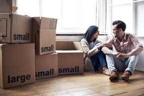 couple who moved to a new apartment: Smaller Home in NYC