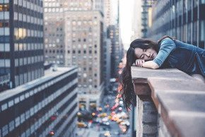 woman in a balcony in NYC